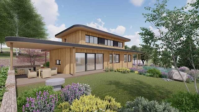 Dům s rodinným hnízdem, soutěžící ARCHCON atelier, s.r.o.; Vítěz veřejného hlasování v kategorii Moderní dřevostavby – návrhy