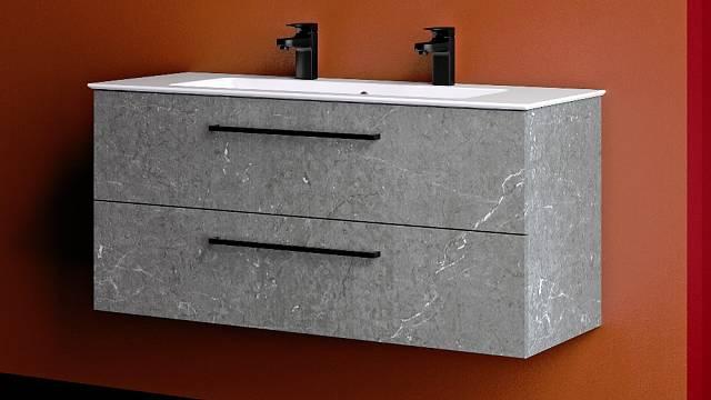 Umyvadlo PURA krásně ladí se závěsnou koupelnovou skříňkou GIO
