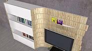 Obývací stěna vyrobená ze šindelí