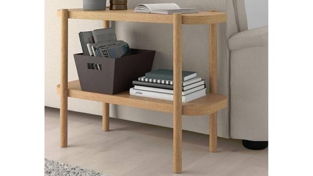 Odkládací stolek s policí Listerby, dub a deska s dubovou dýhou, cena 2490 Kč