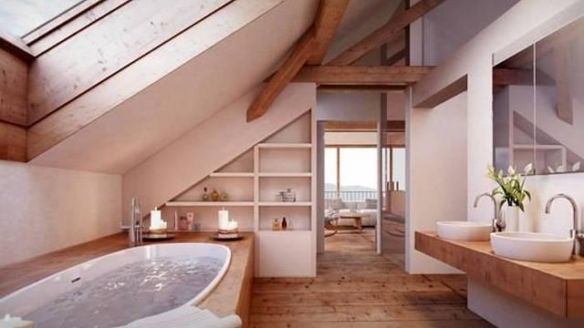 Hezký příklad koupelny vzhledově zapojené do celkového interiéru