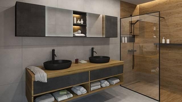 Snadnou údržbu podlahy slibuje závěsné uchycení skříněk, které jsou vtrendy kombinaci folie ultra šedého betonu a dřevodekoru na fóliovaném nábytku spovrchem T.classic, cena od 2298 Kč za m2.