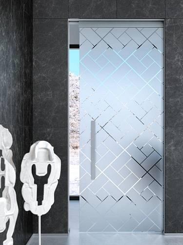 Celoskleněné dveře, pískované sklo