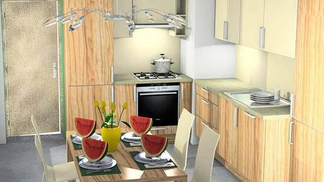 Návrh kuchyně v dekoru světlé olivy