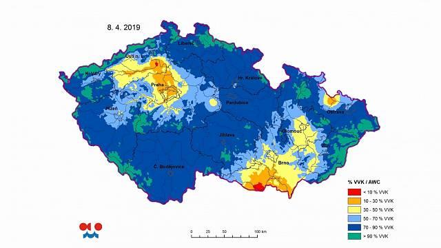 Modelová vlhkost půdy pod trávním porostem ve vrstvě 0-20 cm