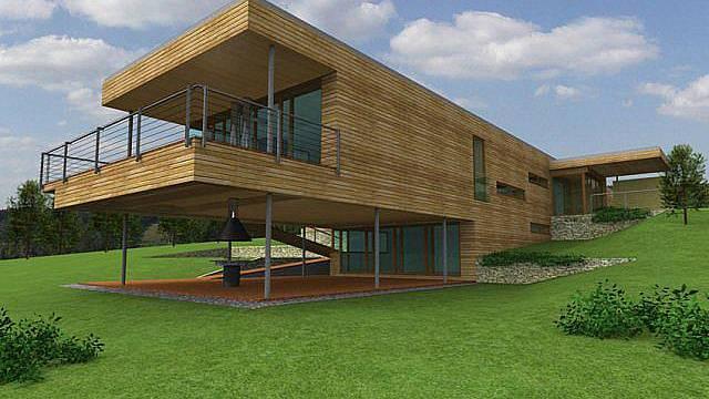 Ojedinělý projektem dřevěné reprezentativní residenční vily v pasivním standardu, kterou navrhl Ing. arch. Josef Smola. Tento typ stavby vyžaduje svažitý pozemek.