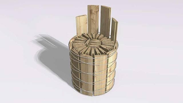 Křesílko z dřevěných šindelí