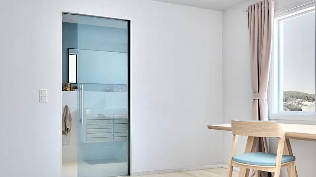 Celoskleněné dveře vynikají eleganci. Zde Sapeli Sapglass Float