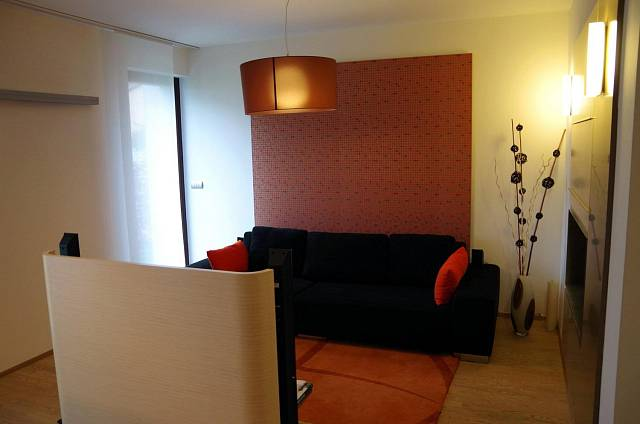 Pohled od kuchyně k obývací části, která je oddělená malu stěnou s televizí.