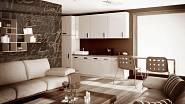 Celoskleněná stěna mezi obývacím pokojem a kuchyní.
