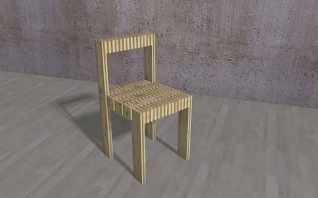 Židle vyrobená z šindelí