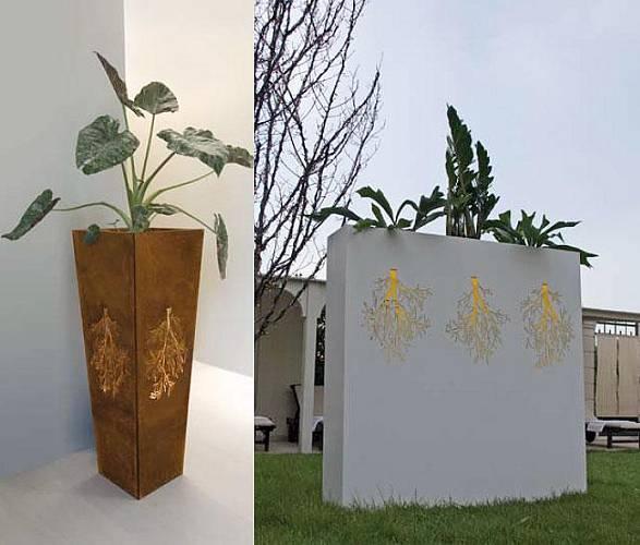Elegantní světelný květináč z designové řady Cor-ten.
