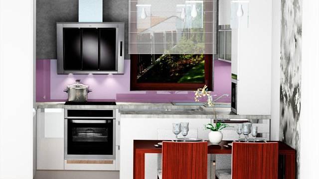 3D návrh: Kuchyně s jídelnou v novostavbě