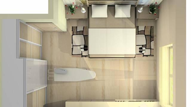 V návrhu se počítá se změnou dispozice, kdy jsou vestavěné skříně na stěně vedle vstupních dveří. Protože prostor ke dveřím může být maximálně 50 cm, část skříní má hloubku 40 cm, zbytek je hluboký 60 cm. Pod menší okno byla umístěna dlouhá komoda, nad...