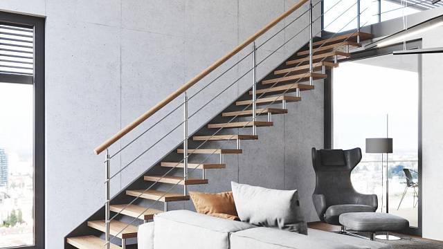 Třmenové schodiště Efekt s nerezovým zábradlím