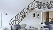 Třmenové schodiště OPERA satypickým laserovaným zábradlím