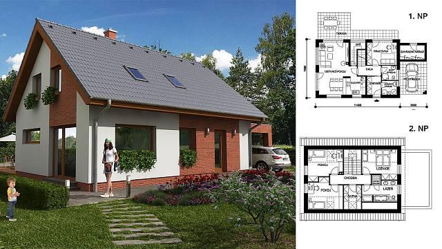 Leontýnka (Ing. Karel Peterka – Thermo Plus) Počet místností 5+1, zastavěná plocha 114,9 m2, podlahová plocha 126,15 m2
