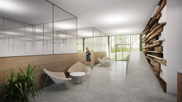 Celý prostor nové části působí vzdušně a moderně a nadchnul tak většinu zaměstnanců. V hlavní roli je tu dřevo, obnovitelný materiál, jehož těžbou i obnovou se firma Petra zabývá