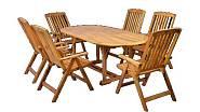 Dřevěný zahradní nábytek HECHT Leader, polohovatelná křesla a stůl z tvrdého dřeva akácie, 11 790 Kč