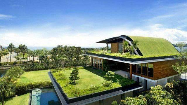 Domy porostlé trávou