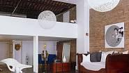 Eames La Chaise a pohovka v moderním open space obývací pokoj.