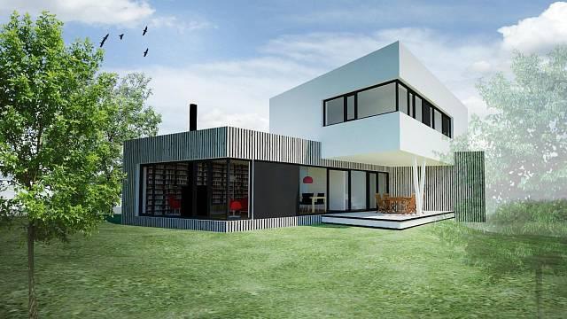 Právě stavěný dům v Petříkově