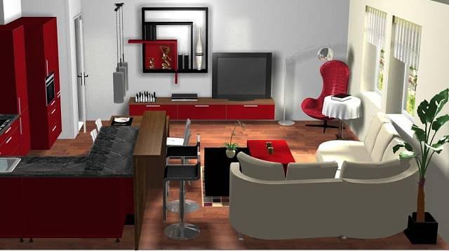 Varianta interiéru ve vínově červené s antracitovou