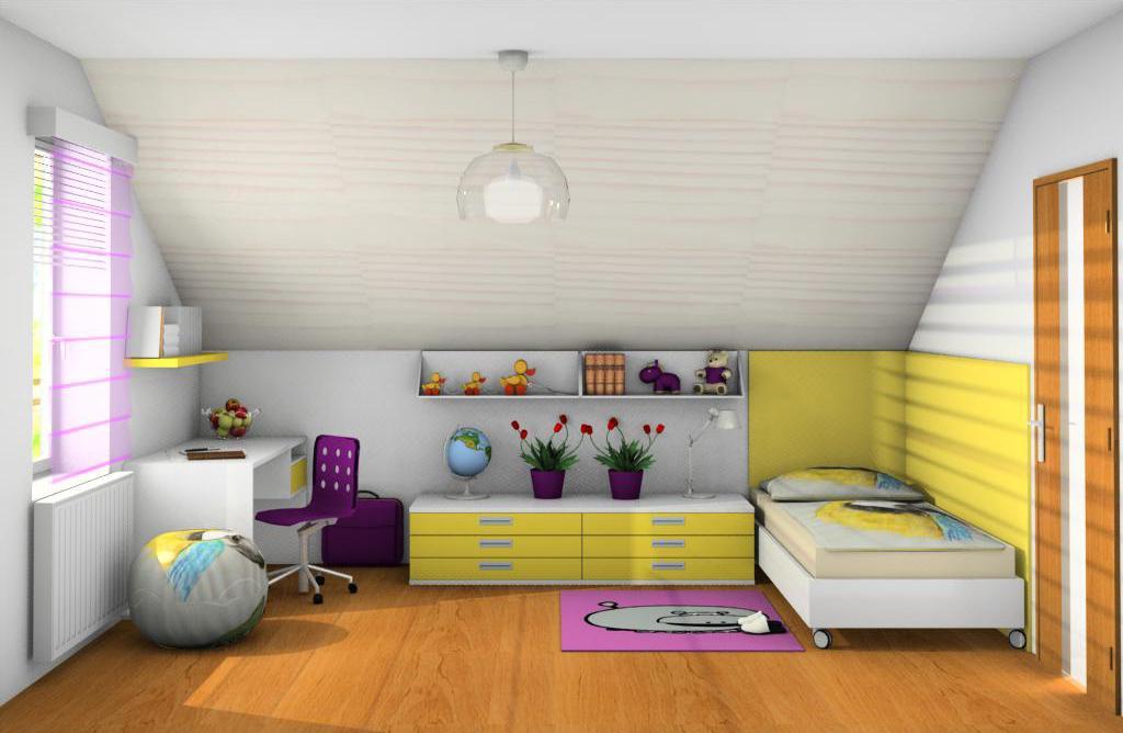 Podkrovní dětské pokoje