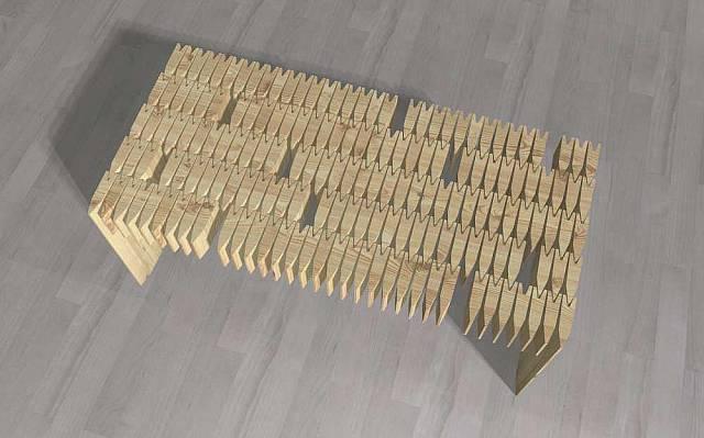 Stůl vyrobený z šindelí