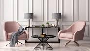 Růžová a šedá v interiéru