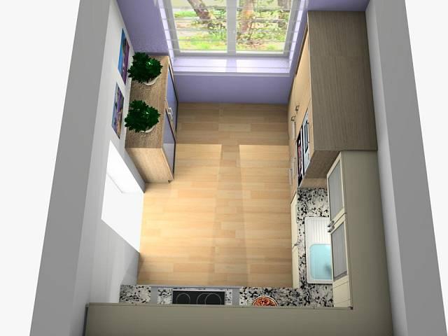 3D návrh kuchyně ve francouzském stylu 3