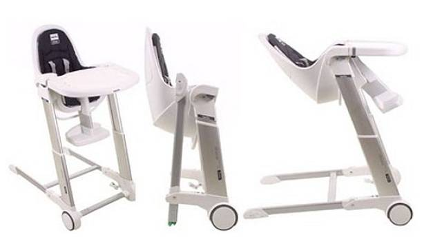 Inglesina Zuma má výškově nastavitelný sedák i opěru nohou a možnost polohování, je skládací a vybavena kolečky. Cena 5640 Kč, ŽIDLE PRO DĚTI