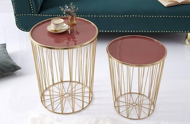 Designový set Art Deco stolků Luigi korálová/zlatá kov / Zdroj: Malva Rosa