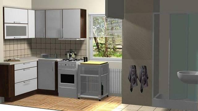 Kuchyně i s koupelnou