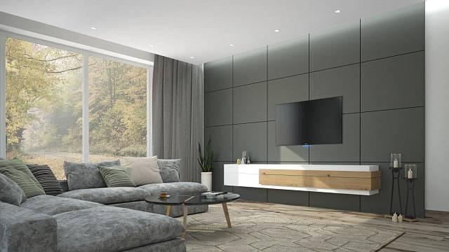 Obklad stěny z matného materiálu povýší interiér hodně vysoko. Navíc se za něj dají skrýt rozvody pro televizi apod.