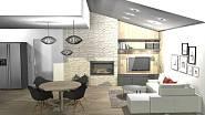 3D návrh kuchyně a obýváku