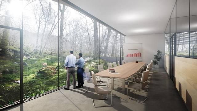 Z jednací místnosti můžete díky prosklené ploše sledovat měnící se přírodní scenérie.