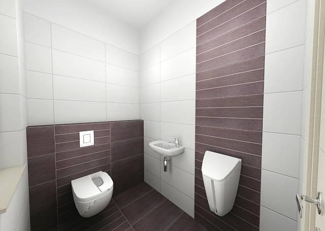 Záchod s pisoárem v přízemí