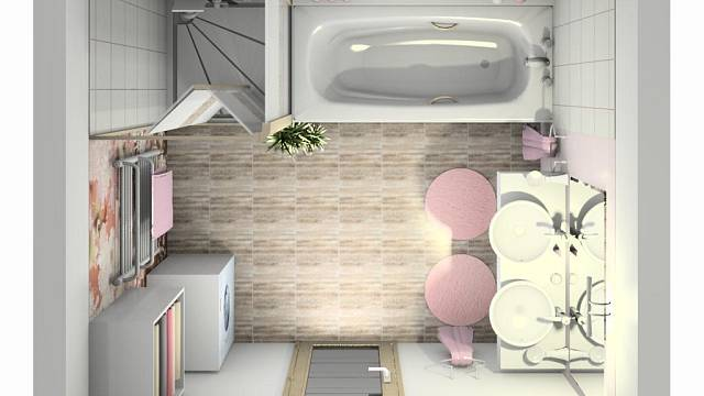 Koupelna je dostatečně velká (má 6,5 m²), navíc umístění okna a dveří je praktické – uprostřed stěn, takže po obou stranách stavebních otvorů zbývá dost místa. Podařilo se sem tedy umístit vše, co si majitelé přáli. Pračka je v rohu za dveřmi, dvě umyv...