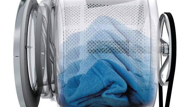 Typické rozmístění bubnu a motoru v pračce