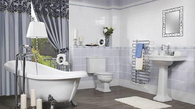 Volně stojící vana s retro nožičkami se optimálně hodí do velké prostorné koupelny. Zdroj: Koupelny Siko.