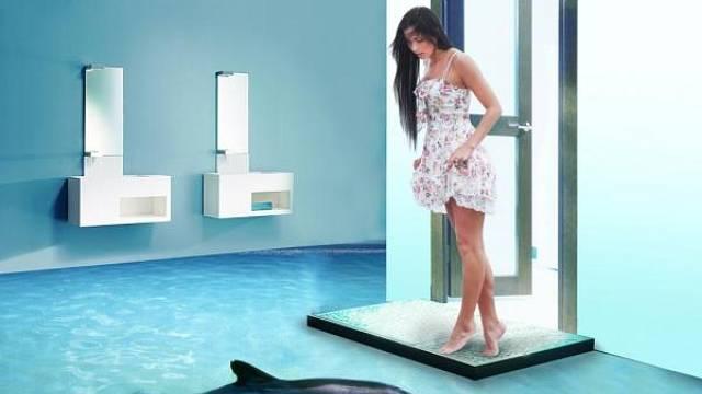Víte, že tohle je realita. Koupelny s těmito podlahamiu jsou v jednom z hotelů v Dubaji
