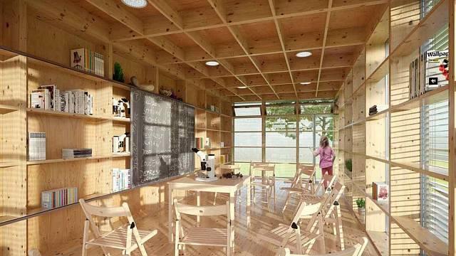 VENKOVNÍ UČEBNA, soutěžící Huť architektury Martin Rajniš – David Kubík, Petr Štambach; Vítěz odborné poroty v kategorii Moderní dřevostavby – návrhy