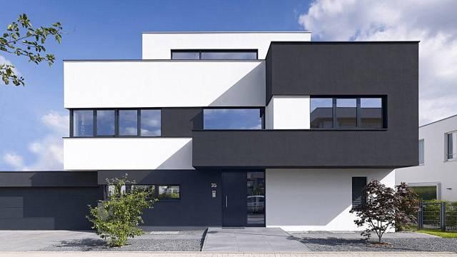 Skulpturální architektura, rodinný dům situovaný v předměstí Kolína nad Rýnem, charakteristický barevnými bloky vyčnívajícími za základního hranolu.