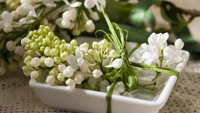 Stačí jen pár květů, mistička a převázat zelenou slámovou stuhou a příjemná dekorace na stůl, která provoní celý byt, je na světě.