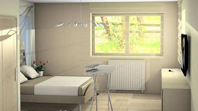 Postel je široká 180 cm, dlouhá 200 cm. Po stranách jsou noční stolky, samozřejmě s lampičkami na čtení. Velká fototapeta za čelem postele oživuje stěnu, do místnosti vnáší trochu barevnosti.