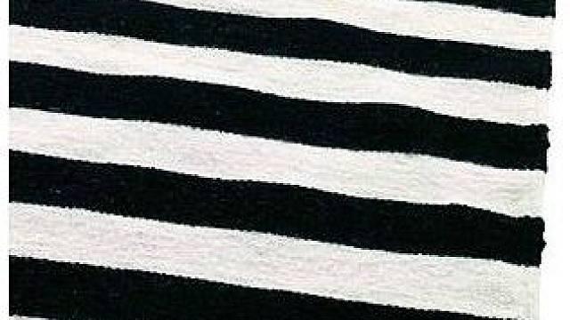 Kontrastně řešený interiér nejlépe zjemní koberec s drobným černobílým vzorem.