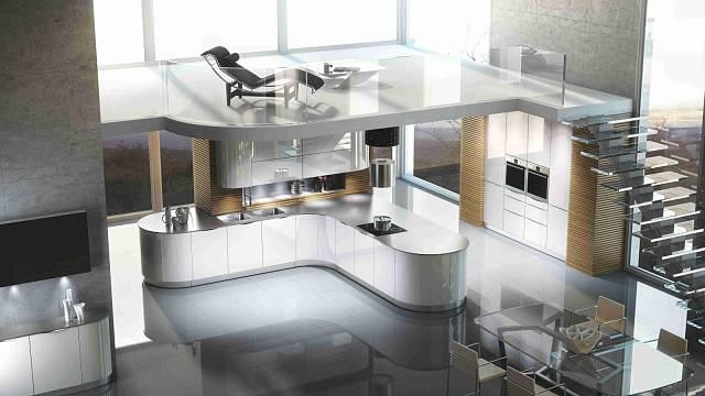 Vzorový příklad dokonalého splynutí kuchyně s obytným prostorem, v tomto případě dvoupodlažním Foto Störmer Küchen