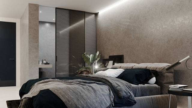 Oddělit koupelnu od ložnice efektně i prakticky umožňuje posuvný systém Premium společně sdveřmi Idealine, jejichž skleněná výplň je pohledově rozčleněna hliníkovými příčkami, cena na dotaz.