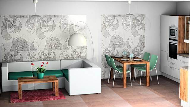 3D návrh - obývák a kuchyně